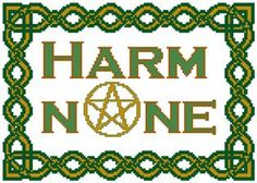 Celtic Harm None Counted Cross stitch Pattern