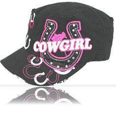 Cowgirl Cadet Cap Black Pink Western Horseshoe Rhinestone Horse Womens Girls NEW