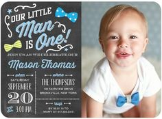 Your little man is turning one, so celebrate in style with a blue chalkboard-inspired first birthday party invitation.