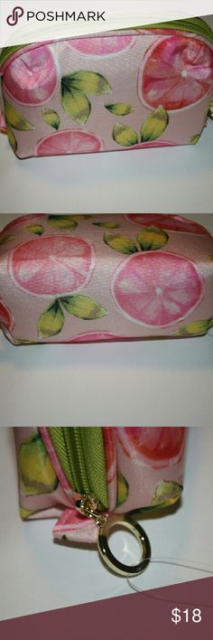 """▪Sprint time Grapefruit Small Cosmetics Bag▪ Brand new without tags.  Color is green, pink, and white with a yellow fabric inside with a zipper closure.  Measures 6"""" across, 5"""" height  Sorry no trades. If you have any questions please ask. If you don't like the price please use the offer button.  Have an amazing day! """"Great Sense of Style"""" Boutique  Bags Cosmetic Bags & Cases"""