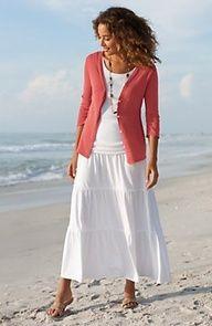 White tank on white skirt, pink cardigan
