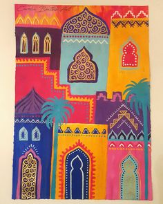 30 days of painting challenge! Marrakech colours, abstract cityscape inspired by morocco. Mixed media art by Carolin Bentbib