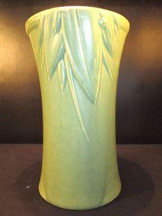 Antique Art Deco Nelson McCoy Pottery Matte Pearl Green Leaves & Berries Vase