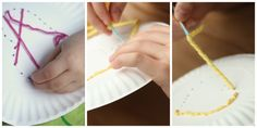 kids sewing with yarn and a paper plate