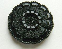 Pretty Pattern with Scalloped Border Antique Victorian Black Glass Button
