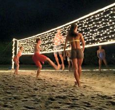   perfect night with volleyball and friends, yes please