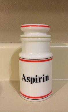 Vintage milk glass Italy aspirin apothecary by LaurasLittleBits, $20.00