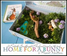 My kids are too old for this now, but such a cute idea. Home For A Bunny…A Portable Smallworld Playland Based on the Book by Margaret Wise Brown Easter Activities, Spring Activities, Toddler Activities, Toddler Games, Class Activities, Preschool Ideas, Sensory Bins, Sensory Play, Rabbit Habitat