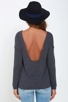 Afternoon Daydream Dark Heather Blue Backless Sweater at Lulus.com!