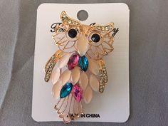 Rose Gold Fashionable Elegant Rhinestone Colorful Owl Brooch Pin Pendant     eBay