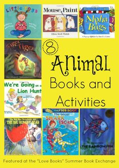 """8+  Animal Books and Activities for the """"Love Books"""" Summer Book Exchange Participants.  Tons of Reading Activities and Crafts for at home or school, activity bag swaps and gift ideas for kids! Hosted by The Educators' Spin On It"""