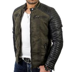 3e87d787 Redbridge Men's Biker Art Leather £52.94 Jacket R-41451 Khaki 2XL Redbridge  http: