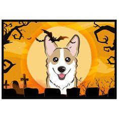 "Caroline's Treasures Halloween Corgi Doormat Rug Size: 1'6"" x 2'3"", Color: Sable"