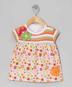Take a look at this Pink & Green Stripe Sunny Day Flower Dress - Infant by Tesa Babe on #zulily today!