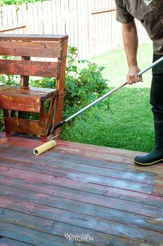 How to stain a deck in 4 easy steps. This DIY deck renovation uses Behr's Premium Deck Stripper, Wood Cleaner and Semi-Transparent Stain in Redwood Naturaltone. The before and after looks incredible! Cedar Deck Stain, Stripping Paint From Wood, Semi Transparent Stain, Deck Maintenance, Garden Gadgets, Diy Deck, Deck Plans, Deck Design, Deck Staining