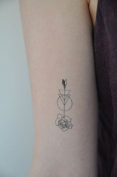 Rose Arrow Temporary Tattoo Modern Illustration by JoellesEmporium