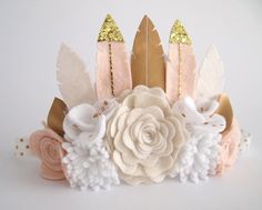 Neutral Luxe Feather Crown full size crown/ felt by kireihandmade