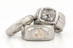 Palladium, Stainless Steel, 14K Rose Gold, Rose Cut Diamond Crystal, Diamonds http://www.johnpauldesigns.com/