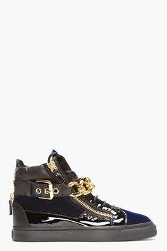 Giuseppe Zanotti Navy Velvet Gold Chain High top Sneakers