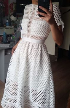 NEW Self Portrait Panelled Lace Midi Dress RARE Size 8-10 Small