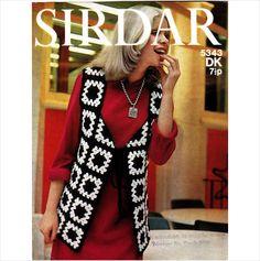 "5343 Sirdar Crochet Pattern - Granny Square Waistcoat 32-34"" 4ply Sixties Retro"