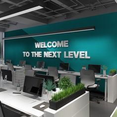 Welcome Sign - Welcome to the next level - Dimensional letters signQuotes, Quotes Apply this Welcome to the next level office wall art in any flat sur. Office Wall Design, Office Wall Art, Office Walls, Office Interior Design, Office Interiors, Office Decor, Office Wall Graphics, Office Ideas, Office Signs