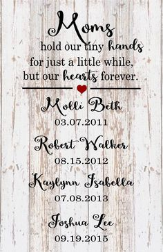 Mother's Day Custom Name Mom Hold Hands Hearts Forever Wood Sign, Canvas Art - Father's Day Gift, Christmas, Birthday by HeartlandSigns on Etsy