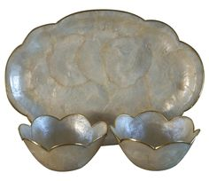 Capiz Shell Tray and Matching Bowls - Set of 3 on Chairish.com