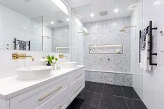 The Block 2016 Family Bathroom Photos Rustic Bathroom Vanities, Bathroom Photos, Bathroom Sets, Bathroom Interior, Small Bathroom, Bathroom Drawers, White Bathroom, Family Bathroom, Laundry In Bathroom