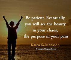 Be patient. Eventually you will see the beauty in your chaos, the purpose in your pain. Karen Salmansohn