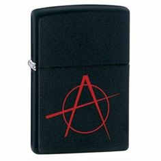 Anarchy Lighter Anarchy Lighter by Zippo. $34.50. Please refer to SKU# ATR25847086 when you inquire.. Shipping Weight: 0.15 lbs. Brand Name: Zippo Manufacturing Mfg#: 041689208424. This product may be prohibited inbound shipment to your destination.. Picture may wrongfully represent. Please read title and description thoroughly.. Refillable Zippo Anarchy Lighter. This genuine Zippo lighter features a black matte finish with the anarchy symbol in a vivid surface imprint. Li...