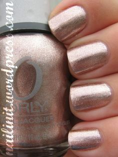 Orly& Rage - perfect rose gold metallic-I tried a metallic a couple months ago and haven& looked back! Manicure French, Manicure Gel, Pedicure, Love Nails, How To Do Nails, Pretty Nails, Fun Nails, Prom Nails, Wedding Nails