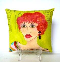 KATHARINE NEW YORK woman Pillow Hand Painted by priscillamae, $45.00