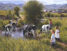 Farms are for Kids by Robert Duncan is a limited edition reproduction of a Robert Duncan Original Painting. Robert Duncan reproduces some of his paintings as posters, prints, and canvas. Texas Art Depot are authorized dealers for Robert Duncan Studios. Arte Country, Country Life, Country Living, Country Roads, Robert Duncan Art, Mary Cassatt, Farm Art, Cow Art, Country Scenes