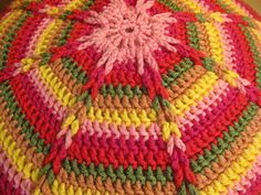 Vintage CROCHET ROUND CUSHION. Comes around goes around...my Grandma used to have some of these pillows sitting on her couches and chairs.