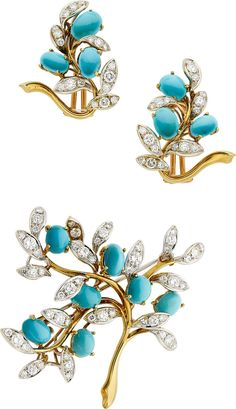 Turquoise & Diamonds Brooch & Earrings