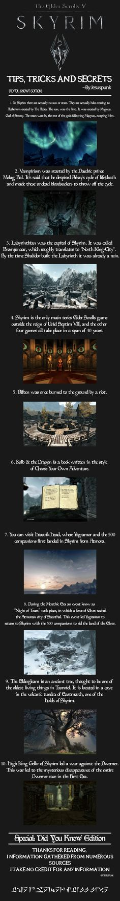 Skyrim - Tips, Tricks and Secrets! {Special Edition}---I need a videogame/PS3 board. This is seriously awesome. #ElderScrolls