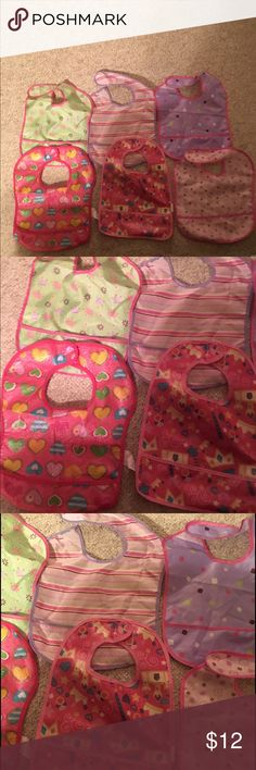 6 baby girl vinyl bibs 6 baby girl vinyl bibs in very nice condition bundle # 304 Other