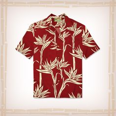 """FREE SHIPPING – EVERY ORDER, EVERY DAY! Paradise Found Hawaiian Shirt """"Pareau Paradise"""" – Red  Hawaiian Aloha Shirt, 100% Rayon. Another great shirt from Paradise Found. Features Bamboo buttons and matching left chest pocket. – Made in Hawaii http://hawaiianshirtdude.com"""