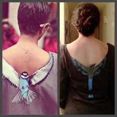 T-shirt with sewn on painted bird made with scrap denim (old jeans). Cut out back if shirt around wings. Minimal sewing by lihoffmann