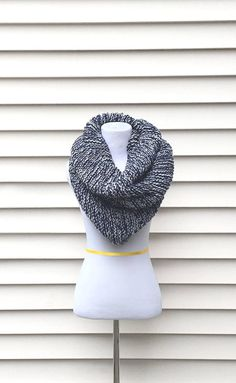 THE ORION COWL Large chunky cowl blue cowl grey ch…
