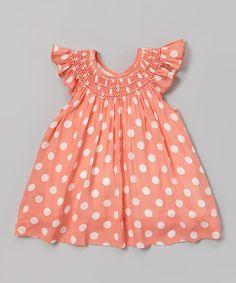 Apricot Polka Dot Smocked Dress - Infant & Toddler