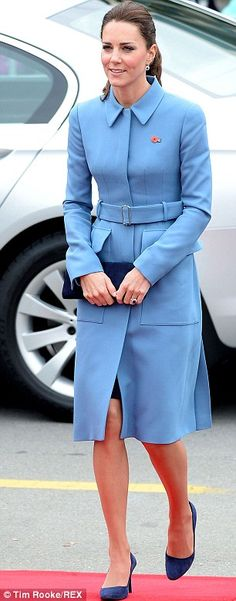 Fit for a princess: Kate's coat was perfectly tailored, and she paired it with dark blue pump heels and a clutch