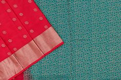 Red soft silk with a blue paloo and blouse. Soft Silk Sarees, Green Blouse, Silk Thread, Pure Products, Quilts, Red, Fabric, Blue, Color