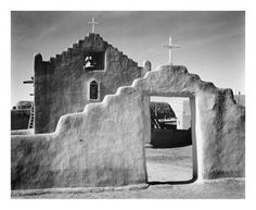 Global Gallery 'Full Side View of Entrance with Gate to the Right, Church, Taos Pueblo National Historic Landmark, New Mexico, by Ansel Adams Framed Photographic Print on Canvas Richard Avedon, Ansel Adams Photos, Ansel Adams Photography, Park Photography, Photography Flowers, Portrait Photography, Wedding Photography, Taos New Mexico, Mexico Art