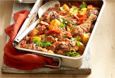 A delicious family meal with chicken and chorizo.