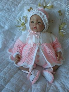 "17-22"" Doll, 0-3 Month Baby knitting pattern available from my website www.creativedollsdesigns.co.uk"