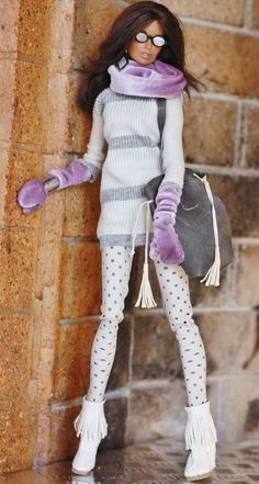 fashion royalty fr2 dollsalive Grey Loves Purple Sporty OOAK outfit, shoes ,bag