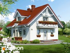 Dom w rododendronach 5 (W) Prefabricated Houses, Grey Cabinets, Exterior House Colors, 5 W, Design Case, Pool Designs, Home Fashion, My Dream Home, House Plans