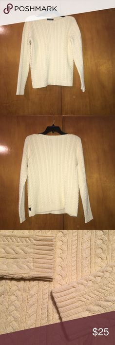 Small Pastel Yellow Long Sleeve Cable Knit Sweater This is a Cable Knit Long Sleeve sweater made of 100% cotton. This is a boat neck style. No smells, no stains, no snags, very clean and all stitches are in tact. Lauren Ralph Lauren Sweaters Crew & Scoop Necks